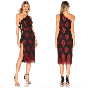 h:ours Revolve One Shoulder Dress Lace Tie Side XS